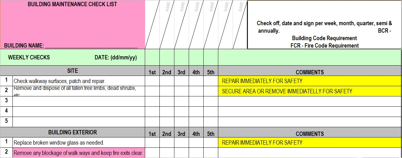 Facility Maintenance Checklist Template Format Word And Excel