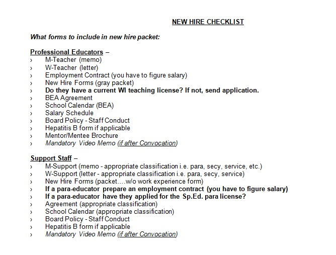 New Employee Checklist Template - Costumepartyrun - new hire checklist template