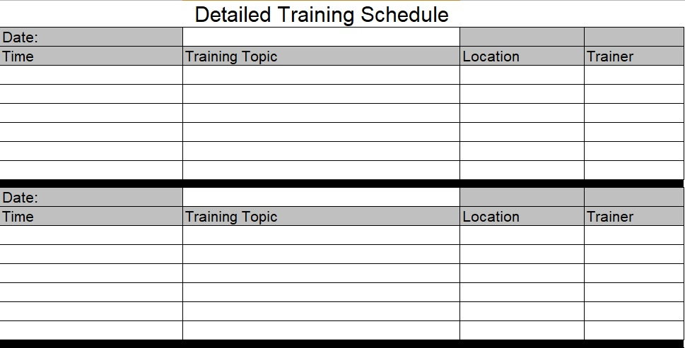Download Employee Training Schedule Template For Company - Excel Tmp