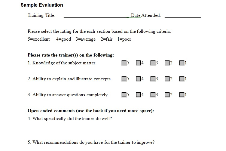Sample Training Evaluation Form Template - Excel Tmp - training survey template
