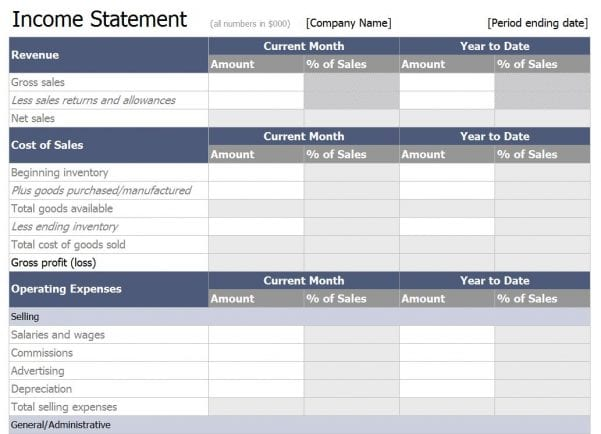 Monthly Balance Sheet Monthly Income Statement Monthly Income - income statement microsoft