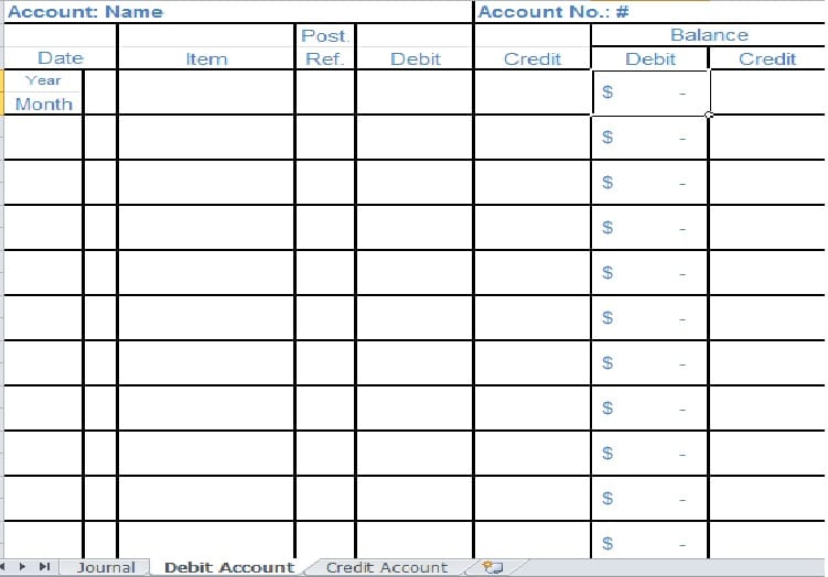Template Excel Accounting Ledger Professional resumes example online - account ledger template