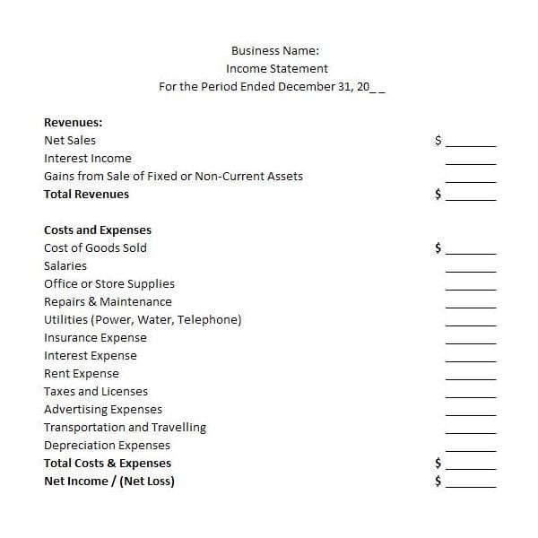 Financial Statements Templates For Nonprofit Organizations Financial - personal profit and loss statement form