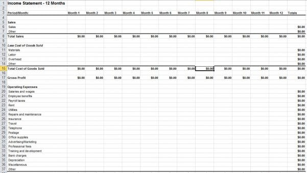 Blank Income Statement Template Excel Simple Business Accounting - income statement inclusions