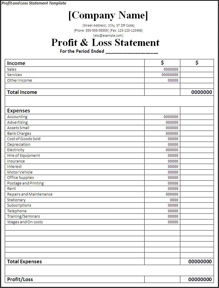 Simple Financial Statement Template Simple Income Statement Template - generic income statement