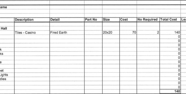 Free Job Cost Worksheet Template Costing Spreadsheet Template Cost