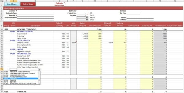 Building Estimation And Costing Excel Sheet Estimating Spreadsheet