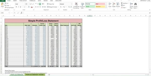 How To Create A Profit And Loss Statement In Excel 2 Pl Spreadsheet