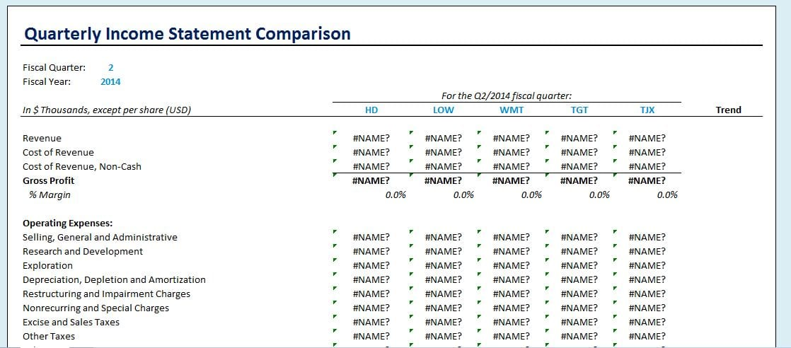 Quarterly Financial Statement Template Quarterly Income Statement