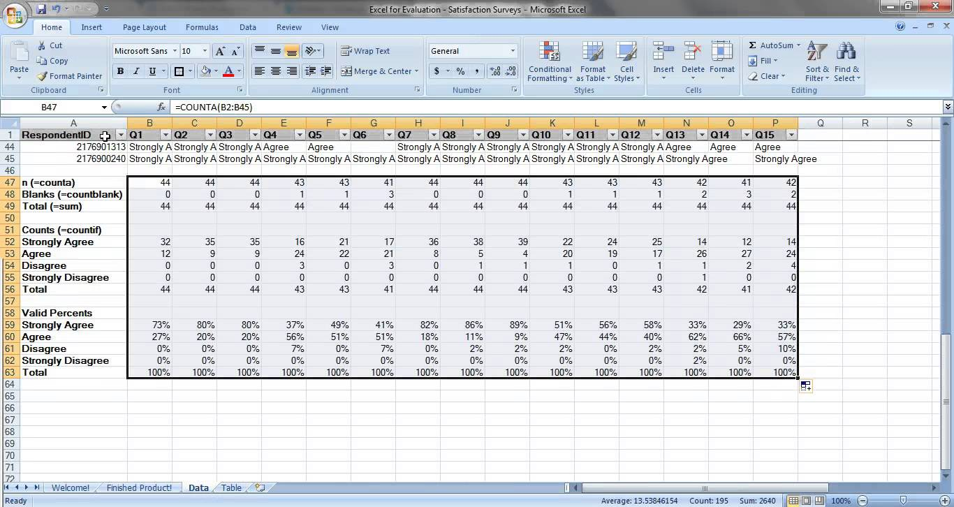 excel survey results template