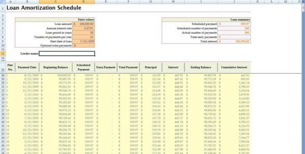 Amortization Spreadsheet Excel Free Mortgage Spreadsheet Template