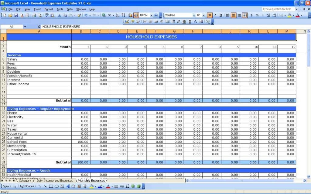 Monthly Expenses Spreadsheet For Small Business Monthly Bill
