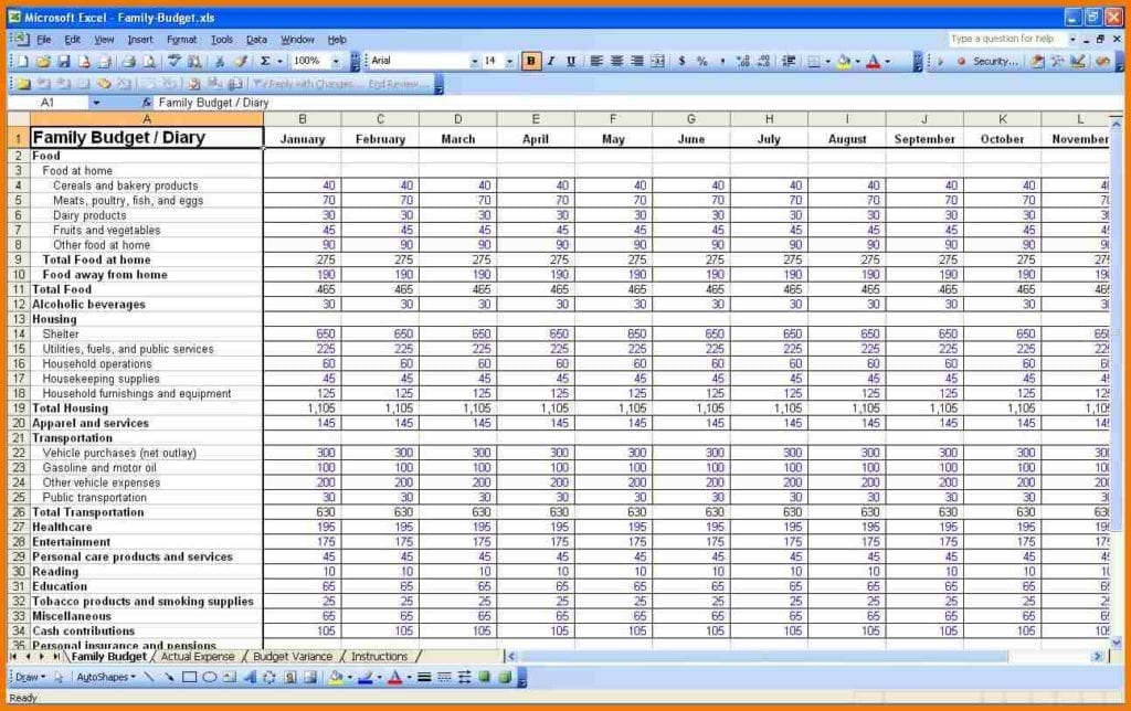 Personal Expenses Spreadsheet Template Excel Personal Finance