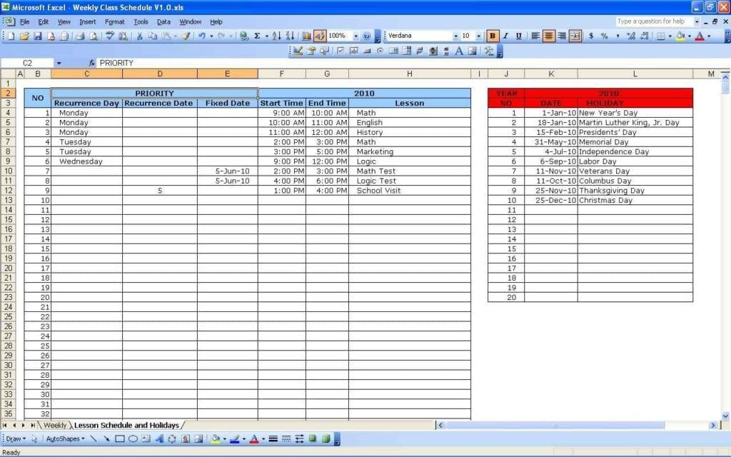 Planning Spreadsheet Template Schedule Spreadsheet Template