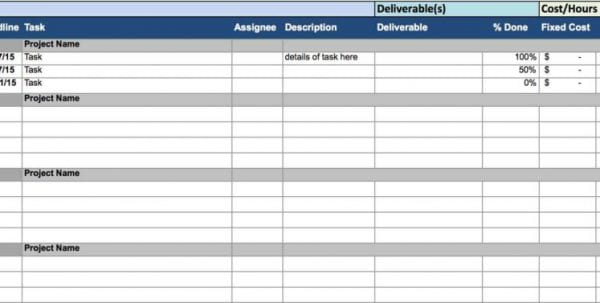 Project Tracking Sheet Excel Template Task Tracking Spreadsheet