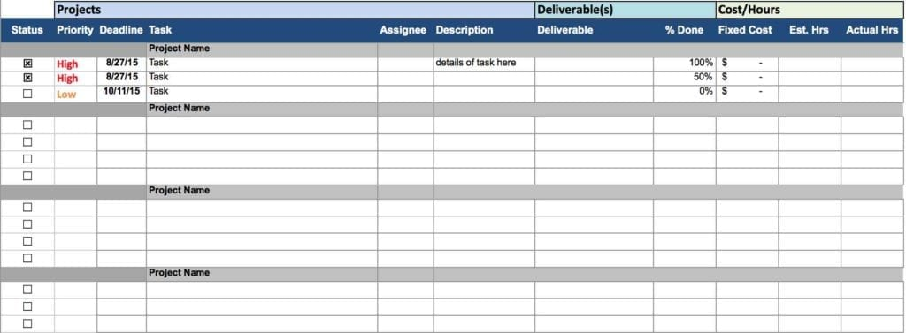 Project Tracking Sheet Excel Template Task Tracking Spreadsheet - tracking sheet template