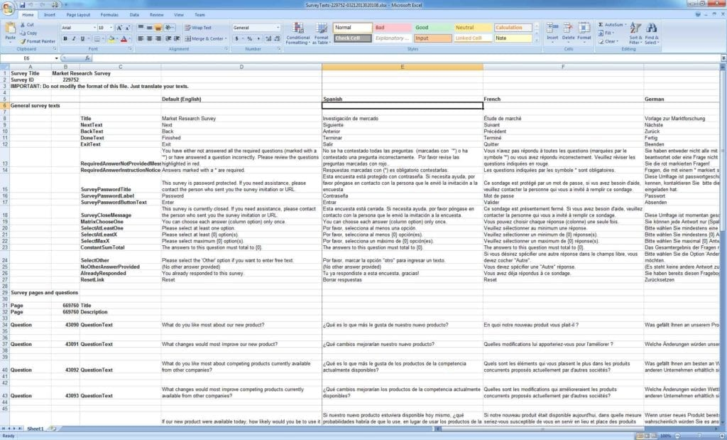 Survey Template Excel Spreadsheet1 Survey Spreadsheet Template