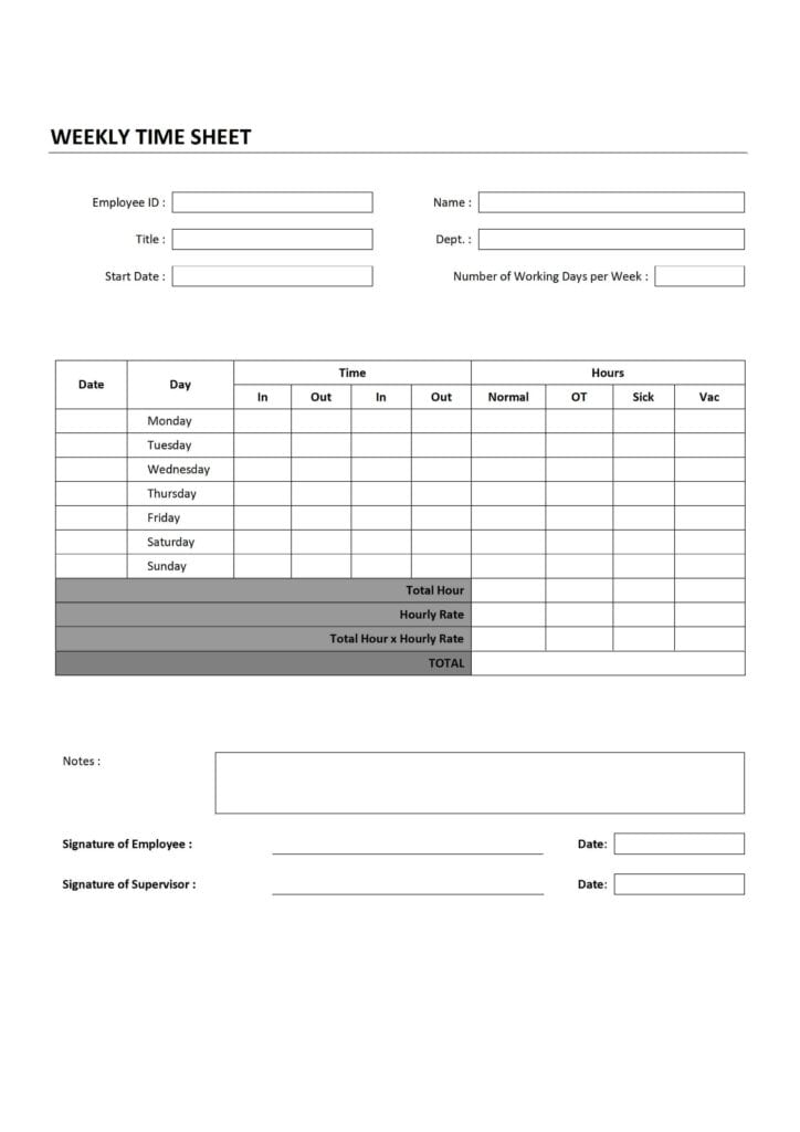 Timesheet Invoice Template Word Time Spreadsheet Template