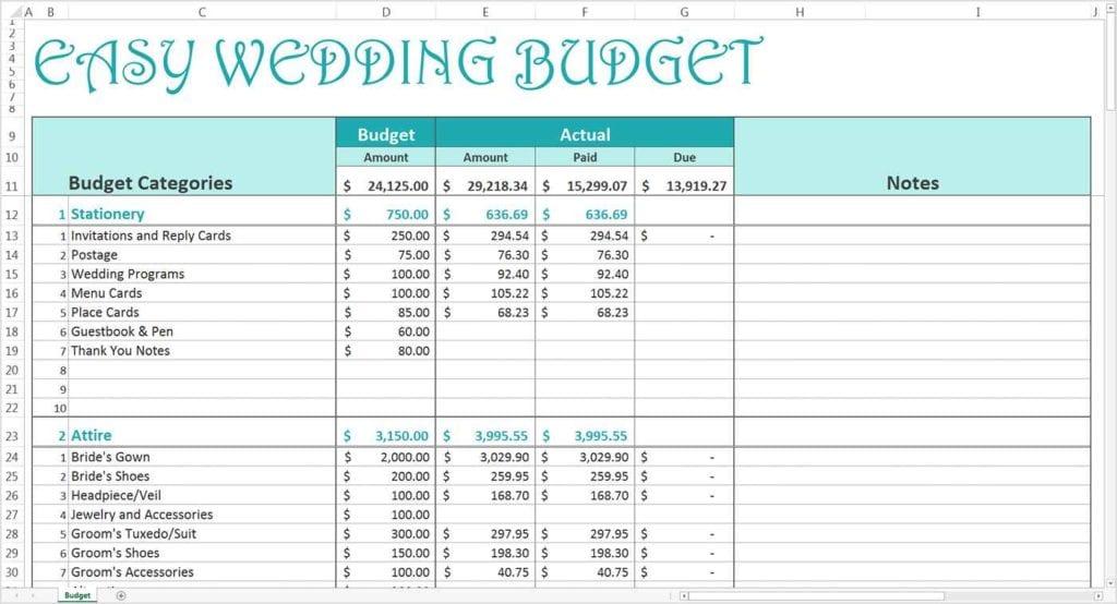 Wedding Budget Calculator Australia Wedding Budget Spreadsheet