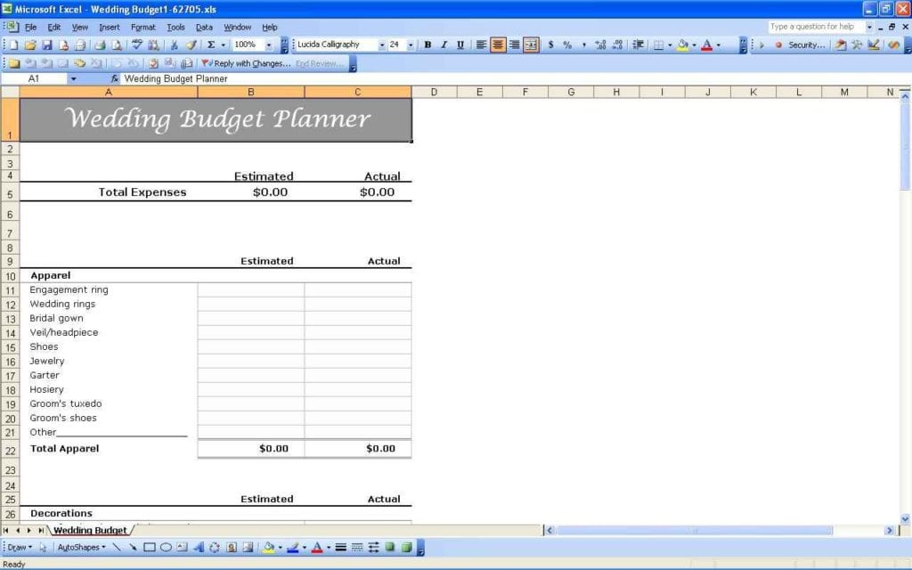 Wedding Budget Calculator Excel Spreadsheet Wedding Budget - wedding budget calculator