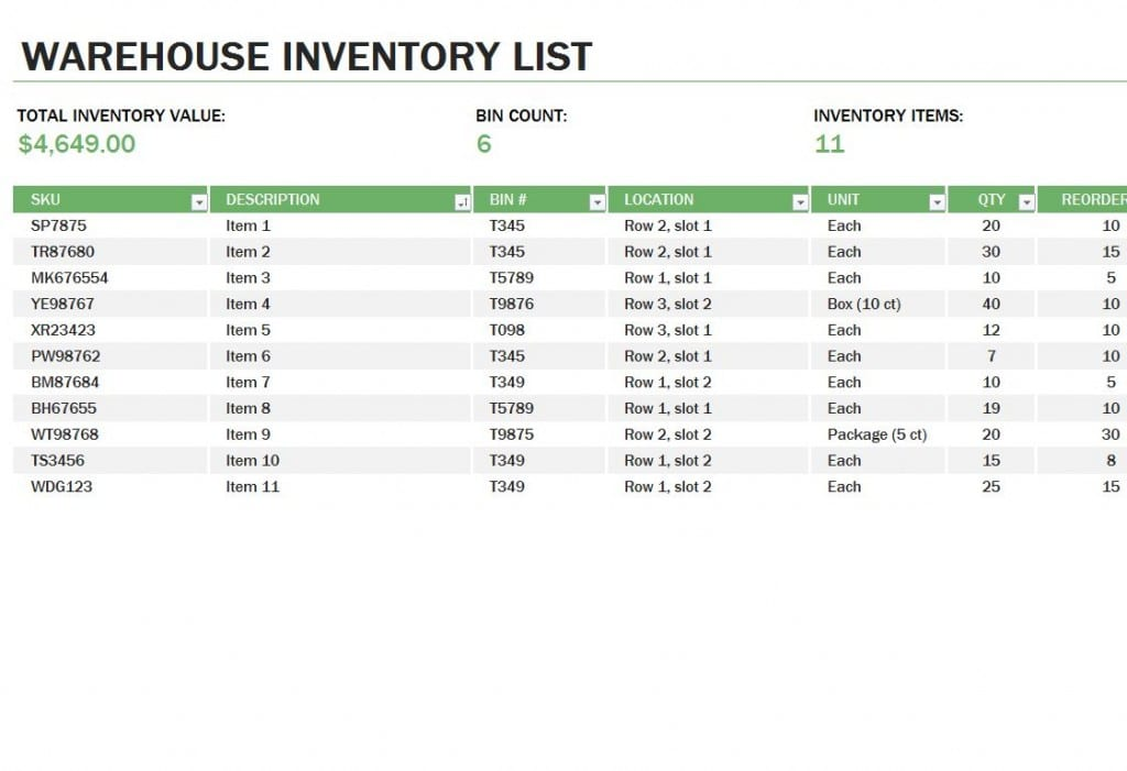 Excel Inventory Tracking Template Basic Inventory Spreadsheet