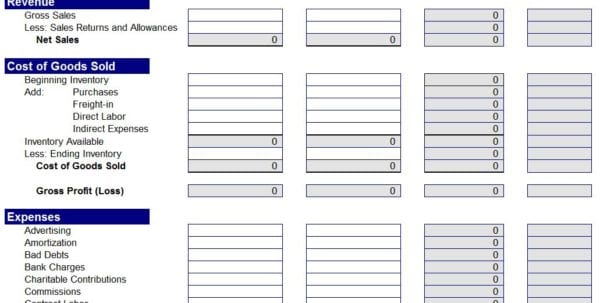 Profit And Loss Template For Small Business 1 Sample Income