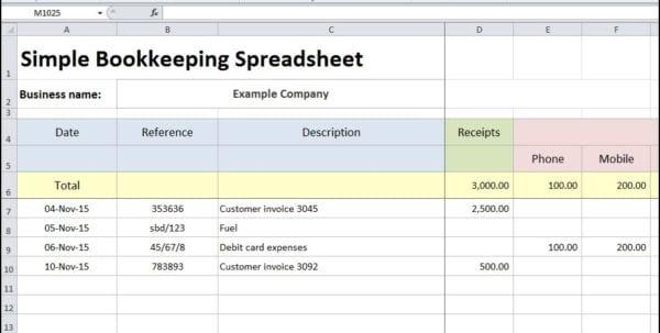 Free Simple Accounts Spreadsheet Free Simple Bookkeeping Spreadsheet
