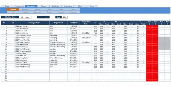 Calculate Employee Attendance Sheet In Excel Attendance Tracking - sample attendance tracking