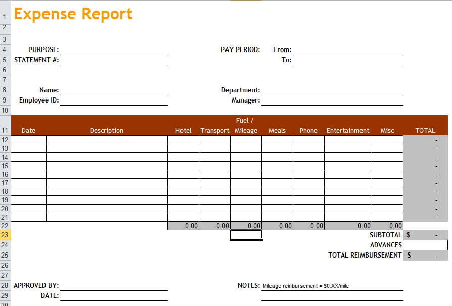 Expense Report Pdf Expense Report Form Excel Expense Spreadshee