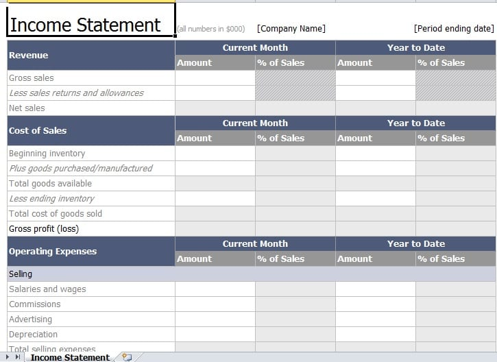 Income Statement Creator Simple Business Accounting Spreadsheet