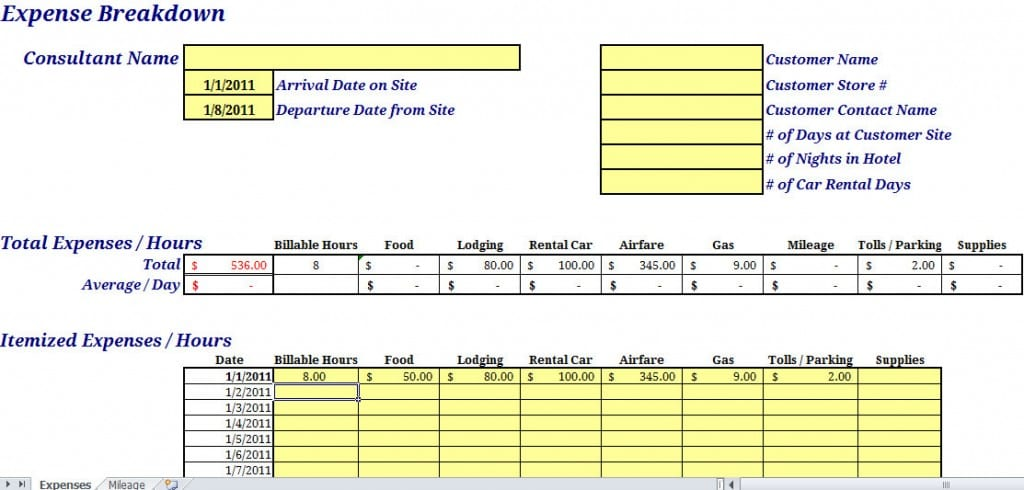 Monthly Expense Report Template Expense Report Form Excel Expense