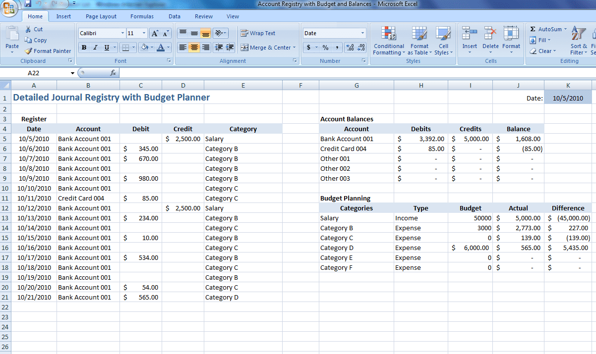 budget tracker template excel