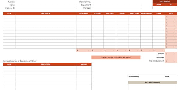 Printable Income And Expense Form Spreadsheet For Tax Expenses - business expense form template free