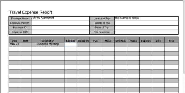 Travel Expense Report Template 1 Excel Expense Reports Spreadsheet