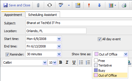 Screenshot: Creating a Calendar appointment for the OOF period