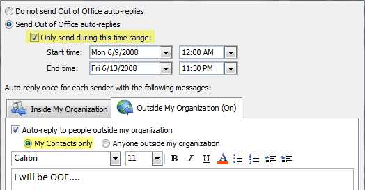 Screenshot: Out Of Office Assistant with options for different OOFs for internal and external senders