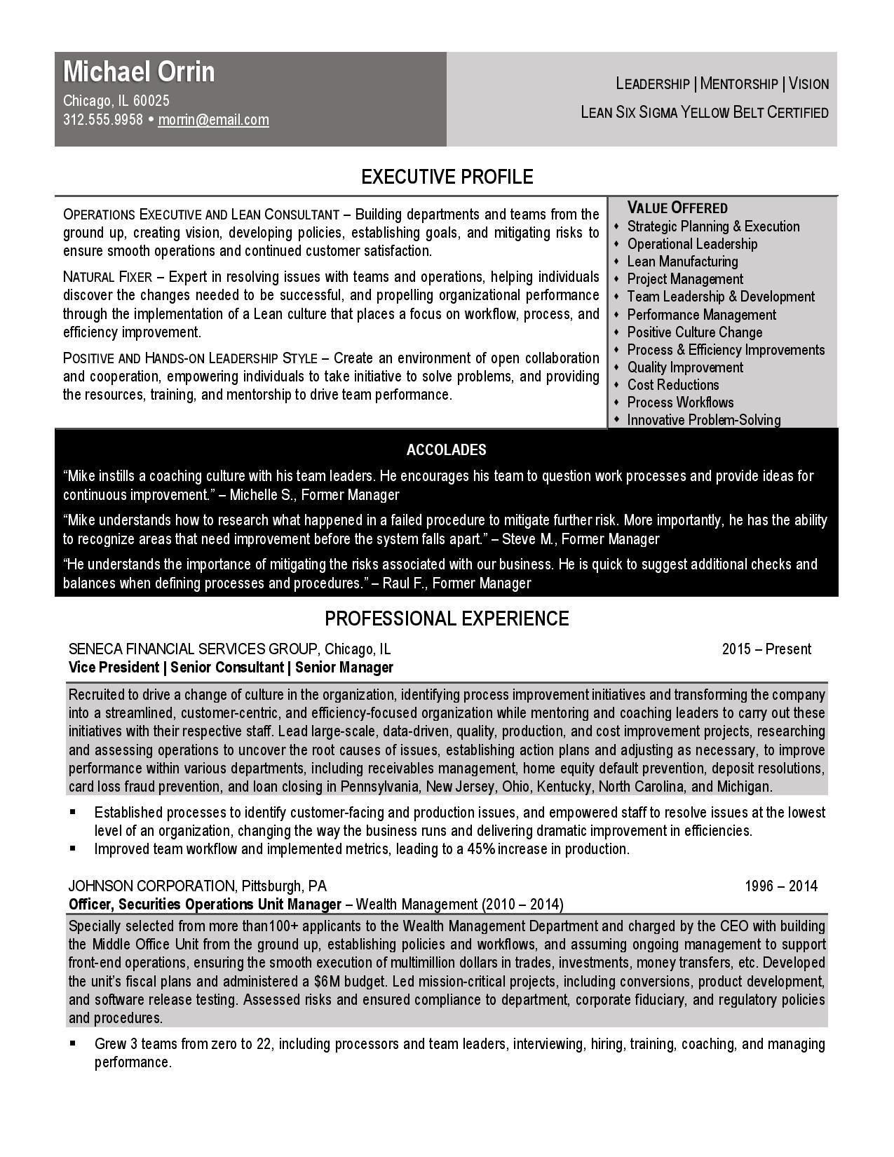 resume for lean consultant