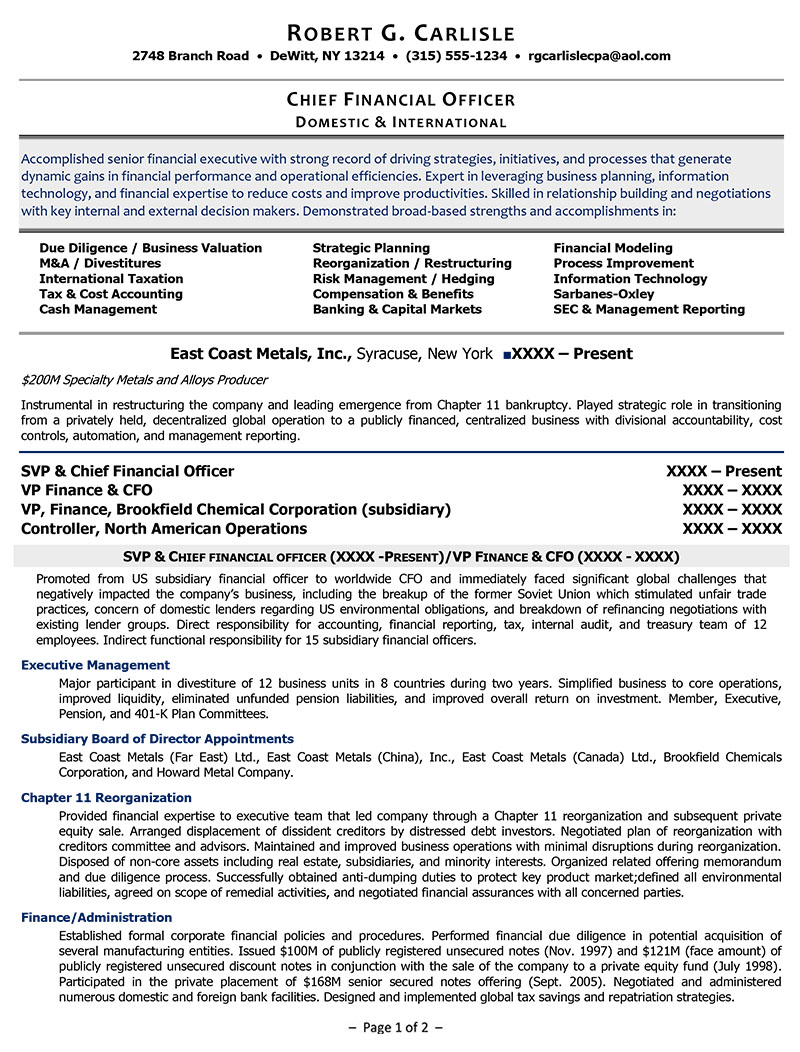 examples of executive resumes healthcare