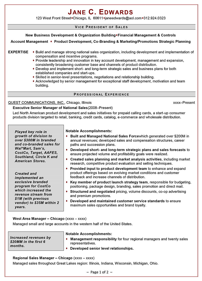 resume sales and marketing
