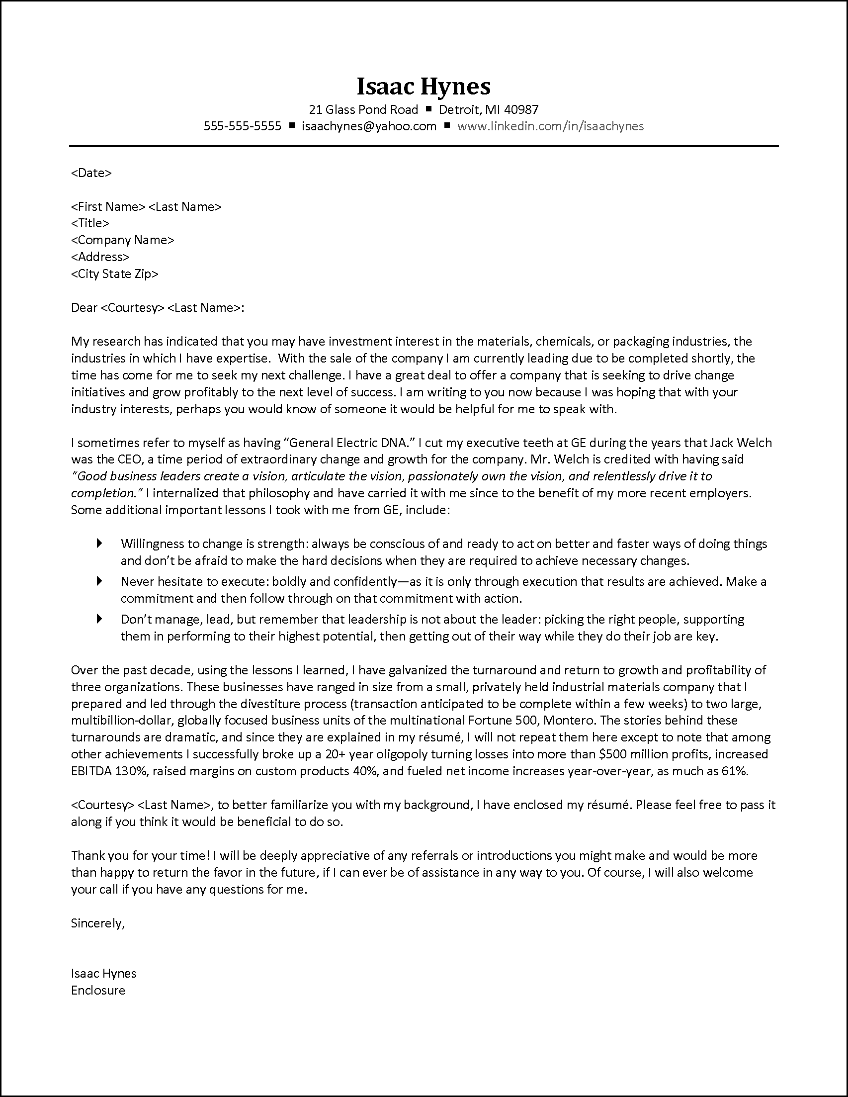Cover Letter Example For Engineering Executive