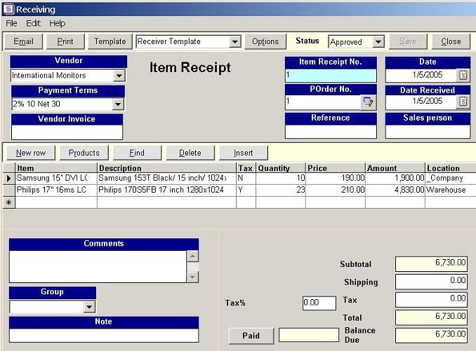 Receipt List, receiving, Golden Inventory System