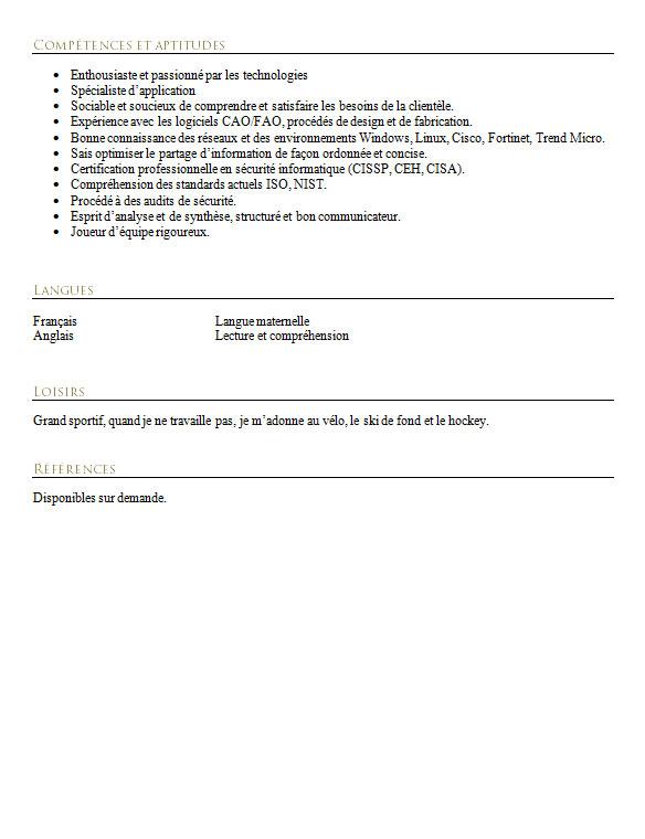 modele cv certification cisco