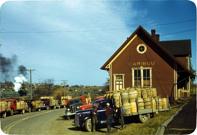 Trucks outside of a starch factory, Caribou, Aroostook County, Me
