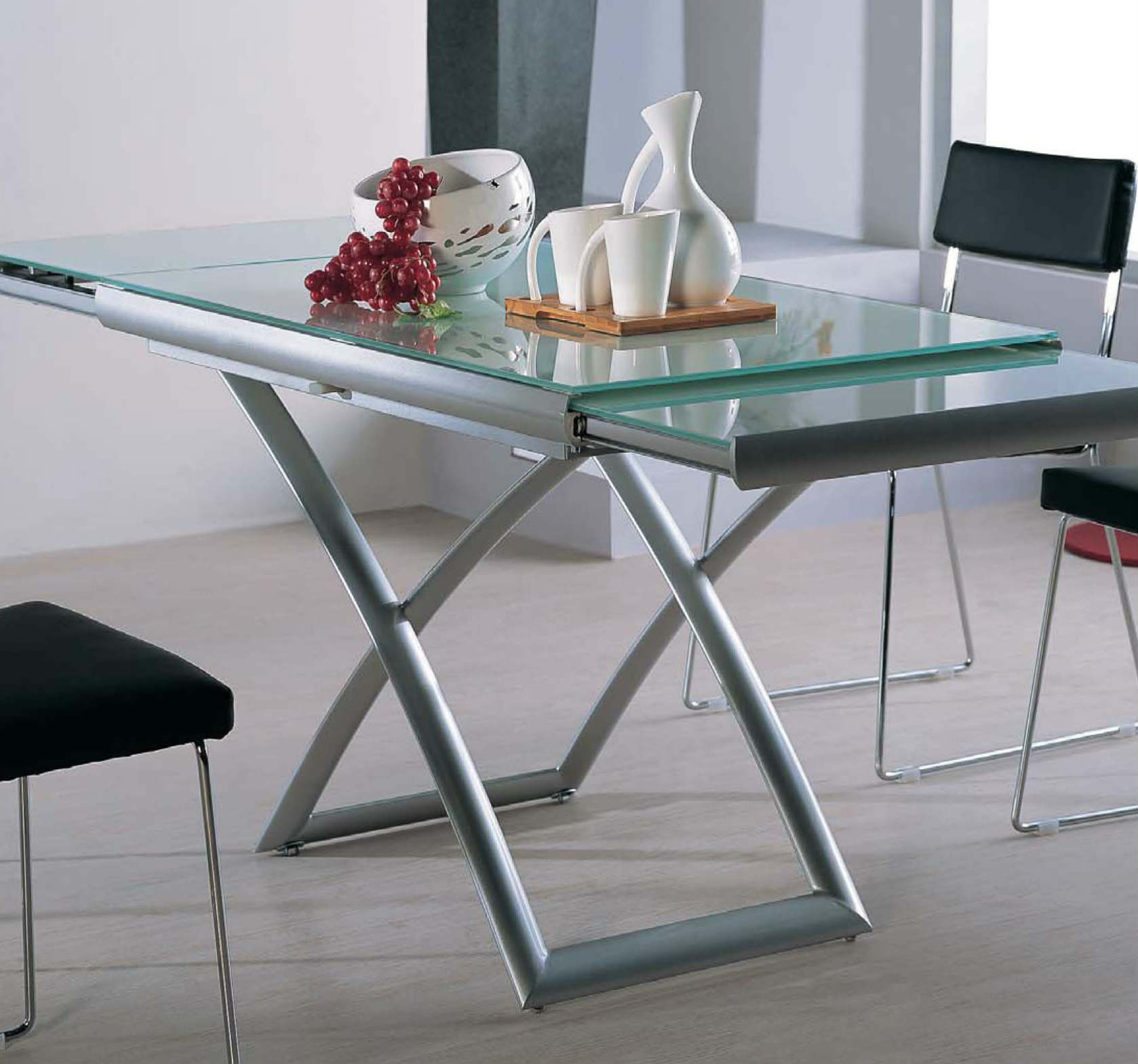 Table Glasses Transforming Extending Glass Table Expand Furniture