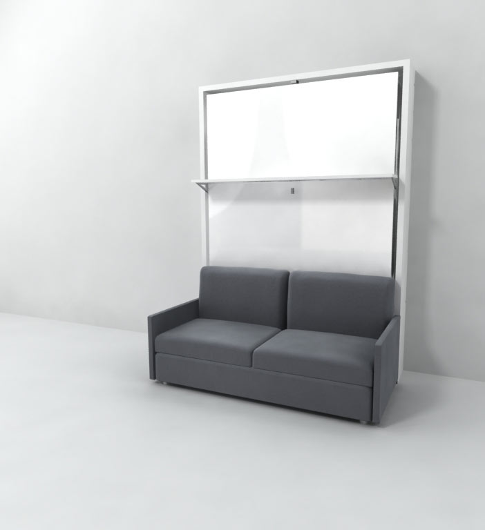 italian wall bed over sofa with floating shelf
