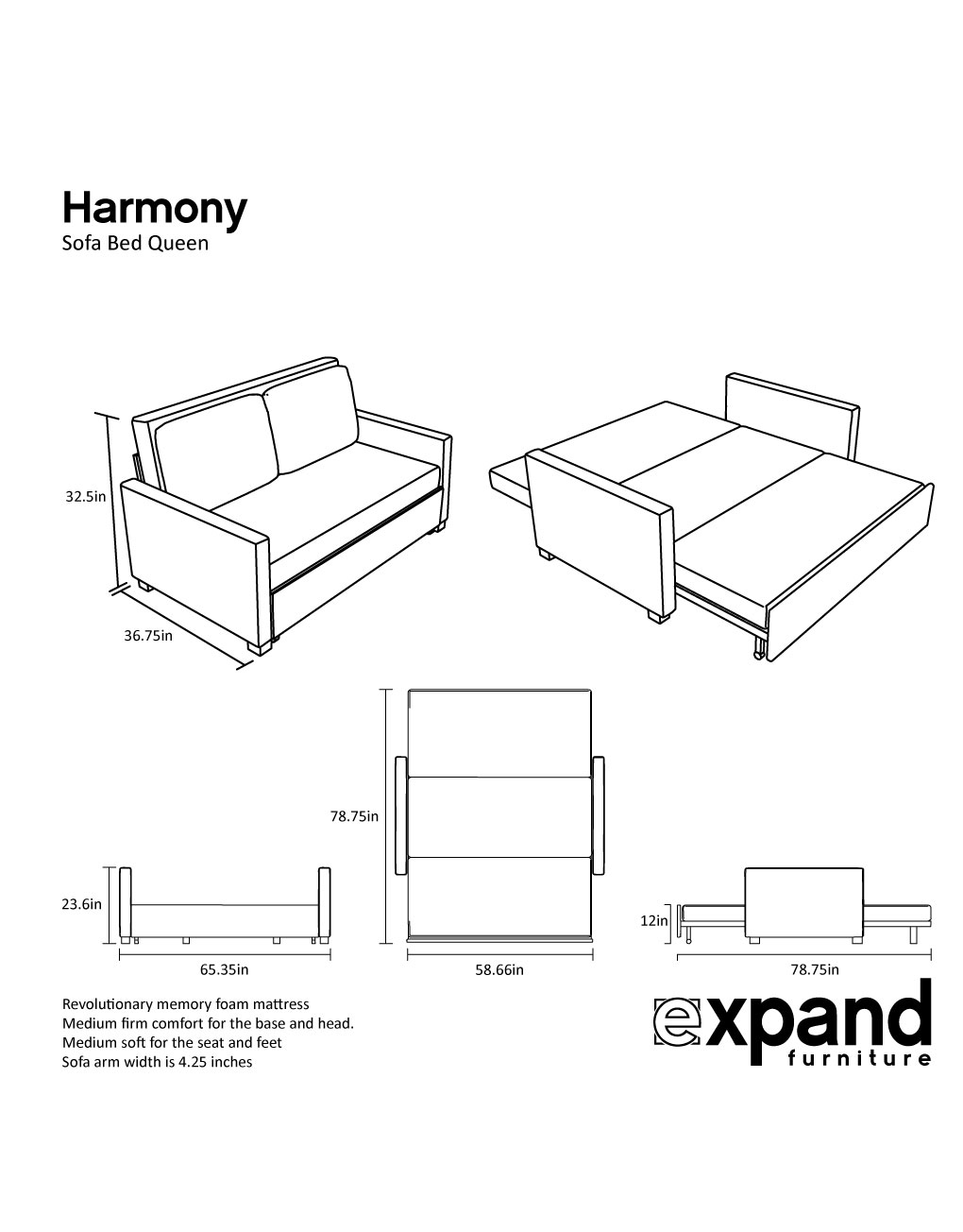 Standard Queen Size Bed Dimension Harmony Queen Size Memory Foam Sofa Bed