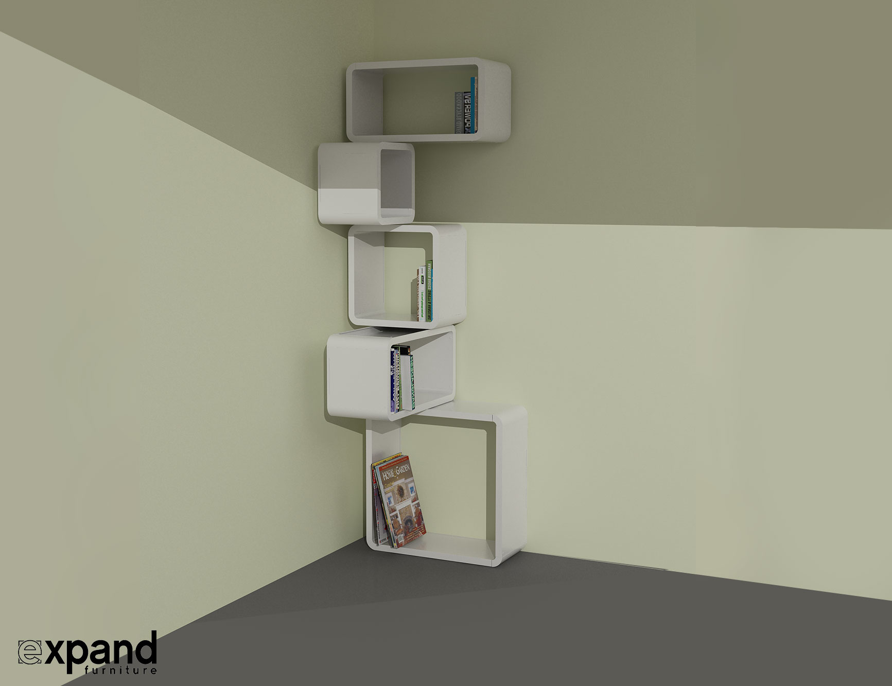 Wall Shelf Design Modular Corner Cube Shelf M