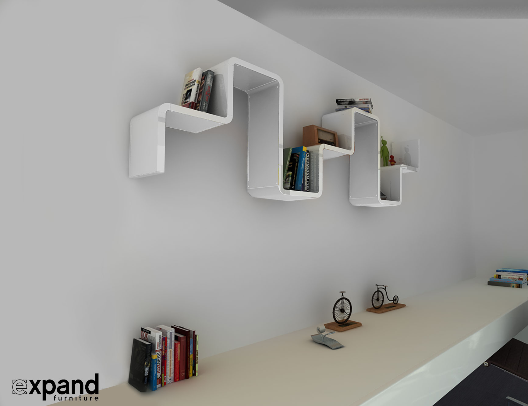 Wall Shelf Design K2 Modular Staggered Shelving