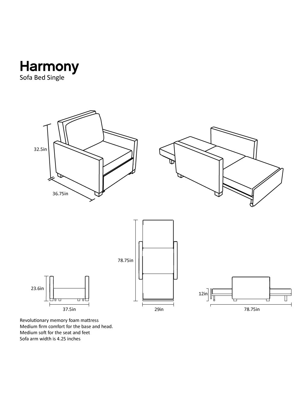Harmony Single Sofa Bed With Memory Foam Expand Furniture - J Steel Sofa