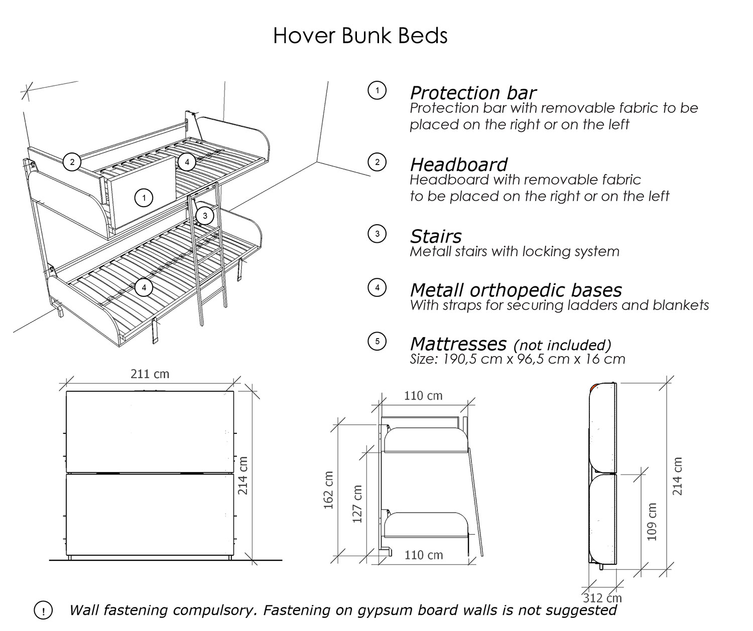 Bunk Bed Dimensions Hover Compact Fold Away Wall Bunk Beds Expand